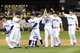 Jul 13, 2013; Seattle, WA, USA; The Seattle Mariners celebrate after defeating the Los Angeles Angels in the 9th inning at Safeco Field. Seattle defeated Los Angeles 6-0. Mandatory Credit: Steven Bisig-USA TODAY Sports
