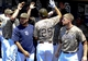 Jul 14, 2013; San Diego, CA, USA; San Diego Padres right fielder Will Venable (25) is congratulated after a home run during the second inning against the San Francisco Giants at Petco Park. Mandatory Credit: Christopher Hanewinckel-USA TODAY Sports