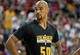 Jul 14, 2013; Las Vegas, NV, USA; Los Angeles Lakers center Robert Sacre looks into the crowd during a stoppage in play in an NBA Summer League game against the Portland Trailblazers at the Thomas and Mack Center. Mandatory Credit: Stephen R. Sylvanie-USA TODAY Sports