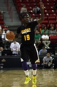 Jul 14, 2013; Las Vegas, NV, USA; Los Angeles Lakers guard Josh Selby calls the play for the Lakers offense during an NBA Summer League game against the Portland Trailblazers at the Thomas and Mack Center. Mandatory Credit: Stephen R. Sylvanie-USA TODAY Sports
