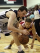 Jul 14, 2013; Las Vegas, NV, USA; Memphis Grizzlies forward Matt Howard and Cleveland Cavaliers center Josh Jeytvelt battle for control of a loose ball during an NBA Summer League game at Cox Pavillion. Cleveland won the game 69-58. Mandatory Credit: Stephen R. Sylvanie-USA TODAY Sports