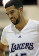 Jul 15, 2013; Las Vegas, NV, USA; Los Angeles Lakers forward Mitchell Watt reacts after receiving a foul against the Los Angeles Clippers during an NBA Summer League game at Cox Pavillion. Mandatory Credit: Stephen R. Sylvanie-USA TODAY Sports
