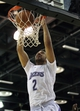 Jul 15, 2013; Las Vegas, NV, USA; Los Angeles Lakers forward Elias Harris dunks the ball against the Los Angeles Clippers at an NBA Summer League game at Cox Pavillion. Mandatory Credit: Stephen R. Sylvanie-USA TODAY Sports