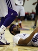 Jul 15, 2013; Las Vegas, NV, USA; Los Angeles Lakers forward Lazar Hayward reacts after being knocked to the floor during an NBA Summer League game against the Los Angeles Lakers at Cox Pavillion. Mandatory Credit: Stephen R. Sylvanie-USA TODAY Sports