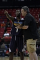 Jul 18, 2013; Las Vegas, NV, USA; Memphis Grizzlies Summer League head coach Bob Thornton talks to a Grizzlies guard Tony Wroten about a play that resulted in a foul during an NBA Summer League game against the Charlotte Bobcats at the Thomas and Mack Center. Mandatory Credit: Stephen R. Sylvanie-USA TODAY Sports