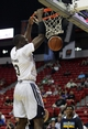 Jul 18, 2013; Las Vegas, NV, USA; Charlotte Bobcats center Bismack Biyombo dunks the ball during an NBA Summer League game against the Memphis Grizzlies at the Thomas and Mack Center. Mandatory Credit: Stephen R. Sylvanie-USA TODAY Sports