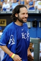 Jul 19, 2013; Kansas City, MO, USA; Paul Rudd walks off the field after catching the ceremonial first pitch before the game between the Kansas City Royals and Detroit Tigers at Kauffman Stadium. Mandatory Credit: Denny Medley-USA TODAY Sports