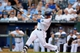 Jul 19, 2013; Kansas City, MO, USA; Kansas City Royals left fielder Alex Gordon (4) connects for a single in the first inning of the game against the Detroit Tigers at Kauffman Stadium. Mandatory Credit: Denny Medley-USA TODAY Sports