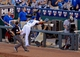 Jul 19, 2013; Kansas City, MO, USA; Kansas City Royals first baseman Eric Hosmer (35) goes into the photo well in an attempt on a foul ball in the fourth inning of the game against the Detroit Tigers at Kauffman Stadium. The Royals won 1-0. Mandatory Credit: Denny Medley-USA TODAY Sports