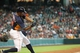 Jul 21, 2013; Houston, TX, USA; Houston Astros center fielder Justin Maxwell (44) gets a hit during the fifth inning against the Seattle Mariners at Minute Maid Park. Mandatory Credit: Troy Taormina-USA TODAY Sports
