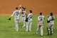 Jul 21, 2013; Houston, TX, USA; Members of the Seattle Mariners celebrate after defeating the Houston Astros 12-5 at Minute Maid Park. Mandatory Credit: Troy Taormina-USA TODAY Sports