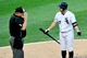 Jul 22, 2013; Chicago, IL, USA;  Chicago White Sox second baseman Jeff Keppinger (7) argues a call with umpire Bruce Dreckman (1) during the second inning against the Detroit Tigers at U.S. Cellular Field. Mandatory Credit: David Banks-USA TODAY Sports