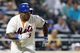 Jul 22, 2013; New York, NY, USA;  New York Mets right fielder Marlon Byrd (6) triples to deep right during the fourth inning against the Atlanta Braves at Citi Field.  Atlanta Braves won 2-1.  Credit: Anthony Gruppuso-USA TODAY Sports