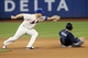 Jul 22, 2013; New York, NY, USA;  Atlanta Braves first baseman Freddie Freeman (5) steals second as New York Mets third baseman David Wright (5) is slow to tag during the seventh inning at Citi Field.  Atlanta Braves won 2-1.  Credit: Anthony Gruppuso-USA TODAY Sports