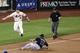 Jul 22, 2013; New York, NY, USA; New York Mets third baseman David Wright (5) has Atlanta Braves left fielder Jose Constanza (13) out during the ninth inning at Citi Field.  Atlanta Braves won 2-1.  Credit: Anthony Gruppuso-USA TODAY Sports