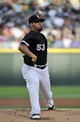 Jul 23, 2013; Chicago, IL, USA; Chicago White Sox starting pitcher Hector Santiago (53) pitches against the Detroit Tigers during the first inning at U.S Cellular Field. Mandatory Credit: David Banks-USA TODAY Sports