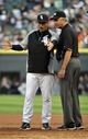 Jul 23, 2013; Chicago, IL, USA;  Chicago White Sox manager Robin Ventura (23) argues a call with umpire Gary Darling (37) during the first inning of a game against the Detroit Tigers at U.S Cellular Field. Mandatory Credit: David Banks-USA TODAY Sports