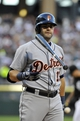 Jul 23, 2013; Chicago, IL, USA;  Detroit Tigers catcher Alex Avila (13) reacts to striking out during the second inning in a game against the Chicago White Sox at U.S Cellular Field. Mandatory Credit: David Banks-USA TODAY Sports
