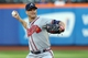 Jul 24, 2013; New York, NY, USA;  Atlanta Braves starting pitcher Tim Hudson (15) pitches during the first inning against the New York Mets at Citi Field Mandatory Credit: Anthony Gruppuso-USA TODAY Sports