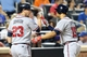 Jul 24, 2013; New York, NY, USA;  Atlanta Braves shortstop Andrelton Simmons (19) celebrates with third baseman Chris Johnson (23) after a two-run home run during the fifth inning against the New York Mets at Citi Field Mandatory Credit: Anthony Gruppuso-USA TODAY Sports