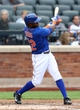 Jul 25, 2013; New York, NY, USA;  New York Mets left fielder Eric Young Jr. (22)  reaches on infield single to the shortstop during the third inning against the Atlanta Braves at Citi Field. Mandatory Credit: Anthony Gruppuso-USA TODAY Sports