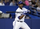 Jul 26, 2013; Toronto, Ontario, CAN; Toronto Blue Jays designated hitter Edwin Encarnacion (10) reacts after a pitch against the Houston Astros at the Rogers Centre. Toronto defeated Houston 12-6. Mandatory Credit: John E. Sokolowski-USA TODAY Sports