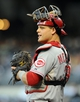 Jul 30, 2013; San Diego, CA, USA; Cincinnati Reds catcher Devin Mesoraco (39) during the first inning against the San Diego Padres at Petco Park. Mandatory Credit: Christopher Hanewinckel-USA TODAY Sports