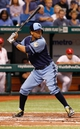Jul 6, 2013; St. Petersburg, FL, USA; Tampa Bay Rays center fielder Desmond Jennings (8) at bat against the Chicago White Sox at Tropicana Field. Mandatory Credit: Kim Klement-USA TODAY Sports