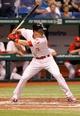 Jul 6, 2013; St. Petersburg, FL, USA; Chicago White Sox second baseman Gordon Beckham (15) at bat against the Tampa Bay Rays at Tropicana Field. Mandatory Credit: Kim Klement-USA TODAY Sports
