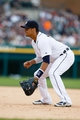 Jul 28, 2013; Detroit, MI, USA; Detroit Tigers first baseman Victor Martinez (41) in the field against the Philadelphia Phillies at Comerica Park. Mandatory Credit: Rick Osentoski-USA TODAY Sports