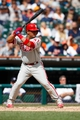 Jul 28, 2013; Detroit, MI, USA; Philadelphia Phillies catcher Carlos Ruiz (51) at bat against the Detroit Tigers at Comerica Park. Mandatory Credit: Rick Osentoski-USA TODAY Sports