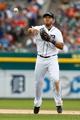 Jul 28, 2013; Detroit, MI, USA; Detroit Tigers shortstop Jhonny Peralta (27) makes a throw against the Philadelphia Phillies at Comerica Park. Mandatory Credit: Rick Osentoski-USA TODAY Sports