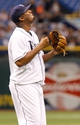 Jul 30, 2013; St. Petersburg, FL, USA; Tampa Bay Rays starting pitcher Roberto Hernandez (40) reacts after he threw a complete game to beat the Arizona Diamondbacks at Tropicana Field. Tampa Bay Rays defeated the Arizona Diamondbacks 5-2. Mandatory Credit: Kim Klement-USA TODAY Sports