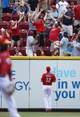 Aug 4, 2013; Cincinnati, OH, USA; Cincinnati Reds right fielder Jay Bruce (32) watches a home run hit by the St. Louis Cardinals first baseman Matt Adams (not pictured) during the first inning at Great American Ball Park. Mandatory Credit: Frank Victores-USA TODAY Sports