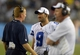 Aug 4, 2013; Canton, OH, USA; Dallas Cowboys coach Jason Garrett (left), quarterback Tony Romo (9) and quarterbacks coach Wade Wilson (right) during the 2013 Hall of Fame Game against the Miami Dolphins at Fawcett Stadium. The Cowboys defeated the Dolphins 24-20. Mandatory Credit: Kirby Lee-USA TODAY Sports