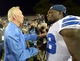 Aug 4, 2013; Canton, OH, USA; Dallas Cowboys owner Jerry Jones (left) shakes hands with receiver Dez Bryant (88) after the 2013 Hall of Fame Game against the Miami Dolphins at Fawcett Stadium. The Cowboys defeated the Dolphins 24-20. Mandatory Credit: Kirby Lee-USA TODAY Sports