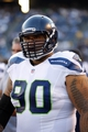 Aug 8, 2013; San Diego, CA, USA; Seattle Seahawks defensive tackle Jesse Williams (90) during a game against the San Diego Chargers  at Qualcomm Stadium. Mandatory Credit: Jody Gomez-USA TODAY Sports