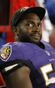 Aug 8, 2013; Tampa, FL, USA; Baltimore Ravens linebacker Elvis Dumervil (58) on the sidelines during the second half against the Tampa Bay Buccaneers at Raymond James Stadium. Mandatory Credit: Kim Klement-USA TODAY Sports