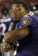 Aug 8, 2013; Tampa, FL, USA; Baltimore Ravens running back Ray Rice (27) on the sidelines during the second half against the Tampa Bay Buccaneers at Raymond James Stadium. Tampa Bay Buccaneers defeated the Baltimore Ravens 44-16. Mandatory Credit: Kim Klement-USA TODAY Sports