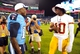 Aug 8, 2013; Nashville, TN, USA; Tennessee Titans wide receiver Kendall Wright (13) greets Washington Redskins quarterback Robert Griffin III (10) at mid-field after a game at LP Field. The Redskins beat the Titans 22-21. Mandatory Credit: Don McPeak-USA TODAY Sports