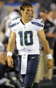 Aug 8, 2013; San Diego, CA, USA; Seattle Seahawks quarterback Brady Quinn (10) on the sidelines during the second half against the San Diego Chargers at Qualcomm Stadium. Mandatory Credit: Christopher Hanewinckel-USA TODAY Sports