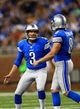Aug 9, 2013; Detroit, MI, USA; Detroit Lions kicker Havard Rugland (3) celebrates with punter Blake Clingan (8) after making his first career field goal in the third quarter of a preseason game against the New York Jets at Ford Field. Mandatory Credit: Andrew Weber-USA TODAY Sports