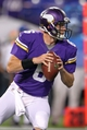 Aug 9, 2013; Minneapolis, MN, USA; Minnesota Vikings quarterback James Vandenberg (6) looks to pass during the fourth quarter against the Houston Texans at the Metrodome. Mandatory Credit: Brace Hemmelgarn-USA TODAY Sports