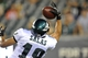Aug 9, 2013; Philadelphia, PA, USA; Philadelphia Eagles wide receiver Greg Salas (19) makes a one handed catch against the New England Patriots during the second half of a preseason game at Lincoln Financial Field. The Patriots won 31-22. Mandatory Credit: Joe Camporeale-USA TODAY Sports