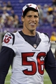 Aug 9, 2013; Minneapolis, MN, USA; Houston Texans inside linebacker Brian Cushing (56) smiles following the game against the Minnesota Vikings at the Metrodome. The Texans defeated the Vikings 27-13. Mandatory Credit: Brace Hemmelgarn-USA TODAY Sports