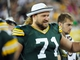 Aug 9, 2013; Green Bay, WI, USA; Green Bay Packers guard Josh Sitton (71) watches game against the Arizona Cardinals from the sidelines at Lambeau Field. Mandatory Credit: Benny Sieu-USA TODAY Sports