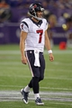 Aug 9, 2013; Minneapolis, MN, USA; Houston Texans quarterback Case Keenum (7) smiles during the fourth quarter against the Minnesota Vikings at the Metrodome. The Texans defeated the Vikings 27-13. Mandatory Credit: Brace Hemmelgarn-USA TODAY Sports