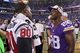 Aug 9, 2013; Minneapolis, MN, USA; Houston Texans wide receiver Andre Johnson (80) talks with Minnesota Vikings running back Adrian Peterson (28) following the game at the Metrodome. The Texans defeated the Vikings 27-13. Mandatory Credit: Brace Hemmelgarn-USA TODAY Sports