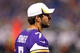 Aug 9, 2013; Minneapolis, MN, USA; Minnesota Vikings quarterback Christian Ponder (7) looks on from the sidelines during the third quarter against the Houston Texans at the Metrodome. The Texans won 27-13. Mandatory Credit: Jesse Johnson-USA TODAY Sports
