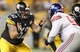 Aug 10, 2013; Pittsburgh, PA, USA; Pittsburgh Steelers guard John Malecki (62) pass blocks against New York Giants defensive tackle Marvin Austin (96) during the fourth quarter at Heinz Field. The New York Giants won 18-13. Mandatory Credit: Charles LeClaire-USA TODAY Sports